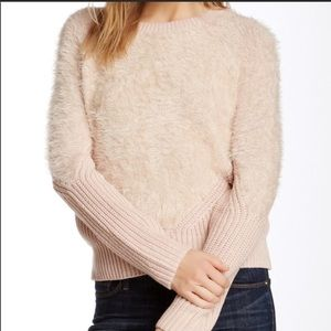 Vince Camuto fuzzy blush sweater